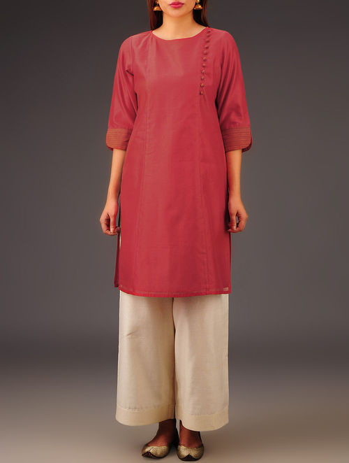 Red Chanderi Button Detailed Kurta