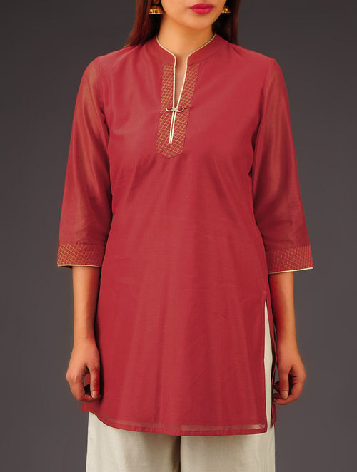 Red Chanderi Zari Stitch Detailed Tunic