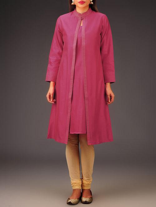 Fuschia Chanderi Zari Stitch Detailed Kurta with Jacket Set of 2