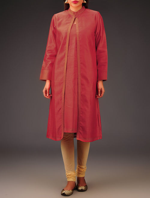 Red Chanderi Zari Stitch Detailed Kurta with Jacket Set of 2