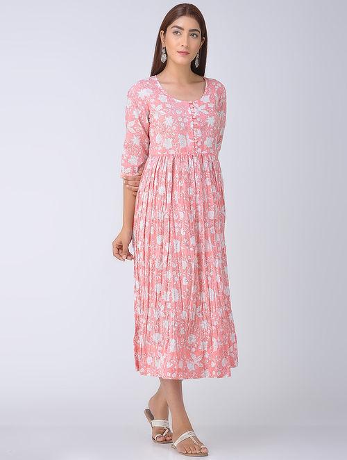 8e1e41eb920a3 Buy Coral Block-Printed Cotton Dress Online at Jaypore.com