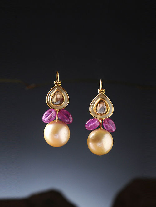 Ruby And South Sea Pearl Polki Gold Earrings