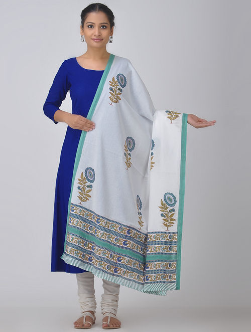 White-Blue Block-printed Cotton Dupatta