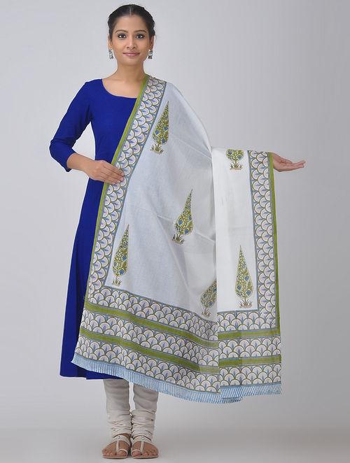 White-Green Block-printed Cotton Dupatta