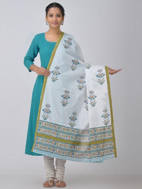 White-Blue Block-printed Cotton Dupatta