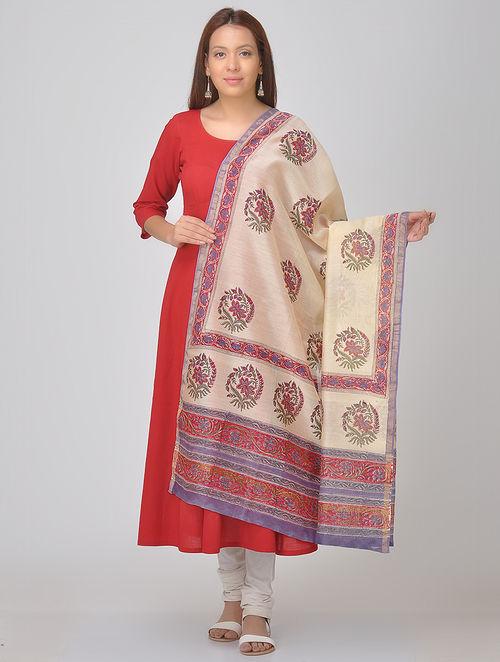 Cream-Red Block-printed Chanderi Dupatta with Zari Border