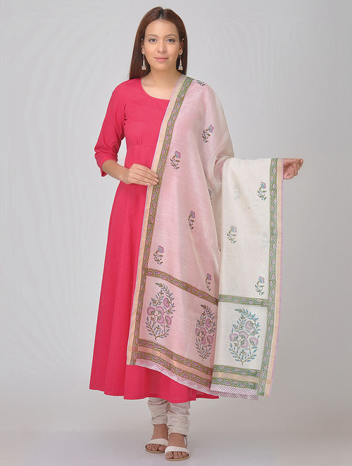 White-Green Block-printed Chanderi Dupatta with Zari Border