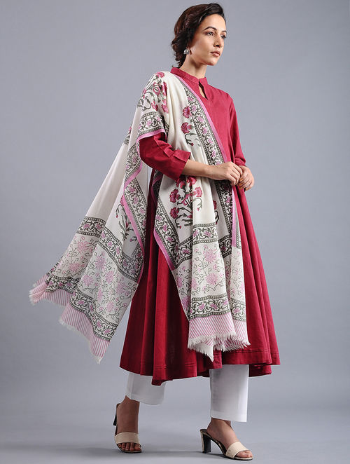 7f1640e8089 Buy Ivory-Pink Block-printed Wool Shawl Online at Jaypore.com