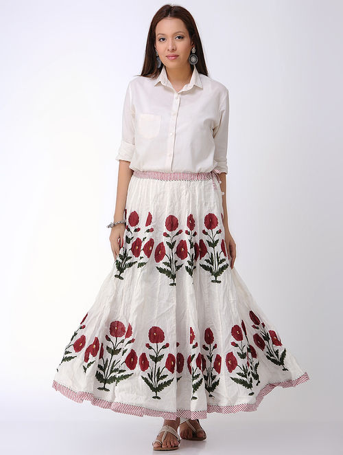 eb9fc12d6627c8 Buy White-Red Block-printed Crinkled Tie-up Waist Cotton Skirt Online ...