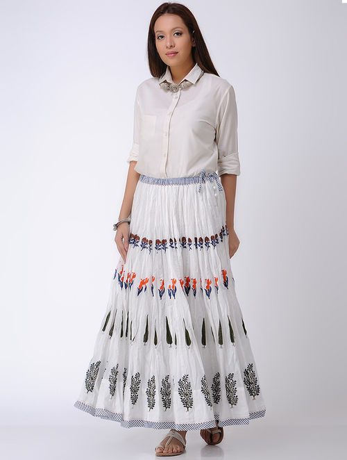White-Blue Block-printed Crinkled Tie-up Waist Cotton Skirt