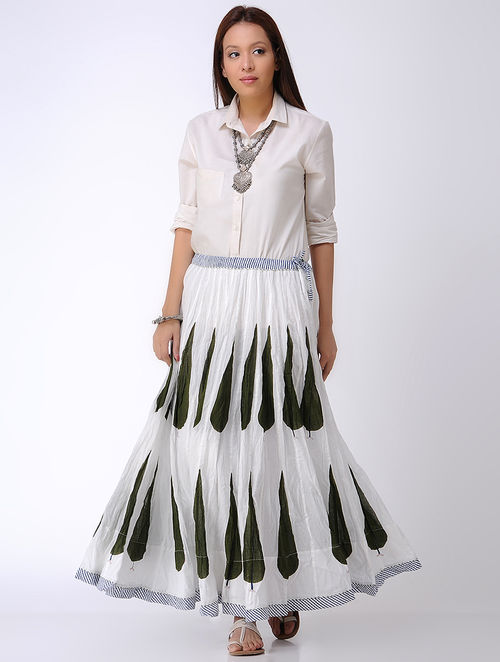 White-Olive Block-printed Crinkled Tie-up Waist Cotton Skirt