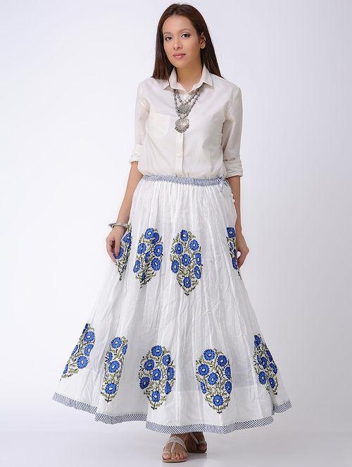White-Blue Block-printed Crinkled Tie-up Waist Cotton Skirt