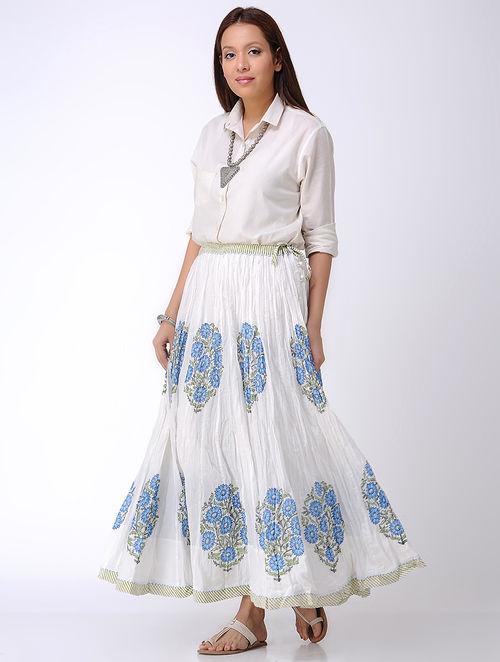 9cdde8e505bb40 Buy White-Blue Block-printed Crinkled Tie-up Waist Cotton Skirt ...