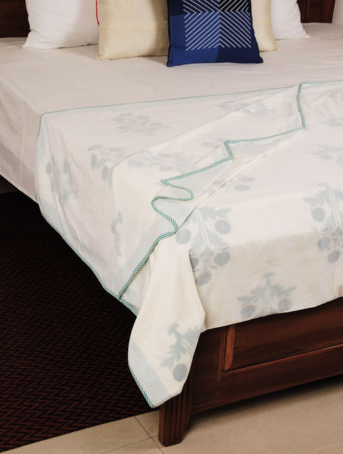 Ivory Floral Cotton Single Bed Dohar 90in X 58in