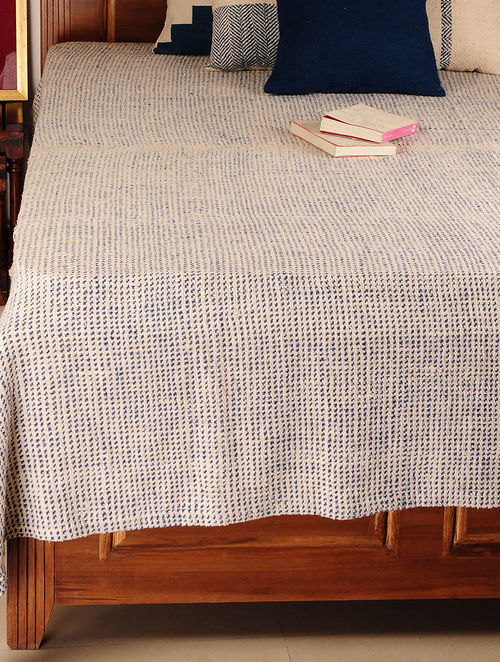Handspun Ivory-Indigo 2 Pick Double Bed Cover 95in X 94in
