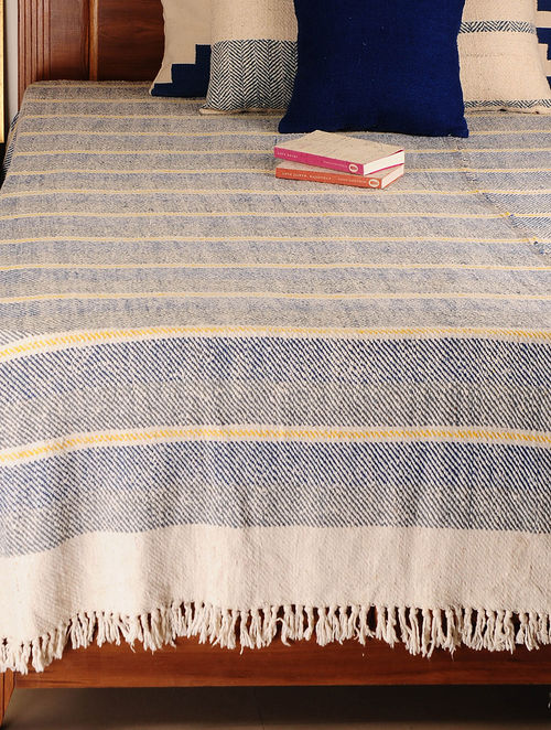 Handspun Multicolor Stripes Bed Cover 100in X 100in