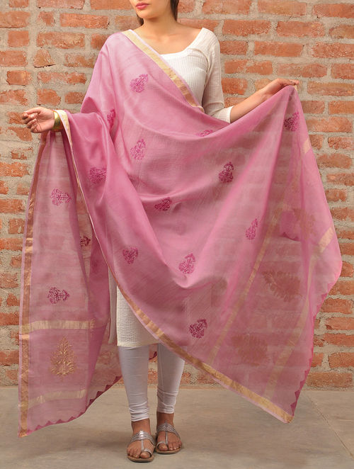 Buy Onion Pink Chikankari Chanderi Dupatta Online At