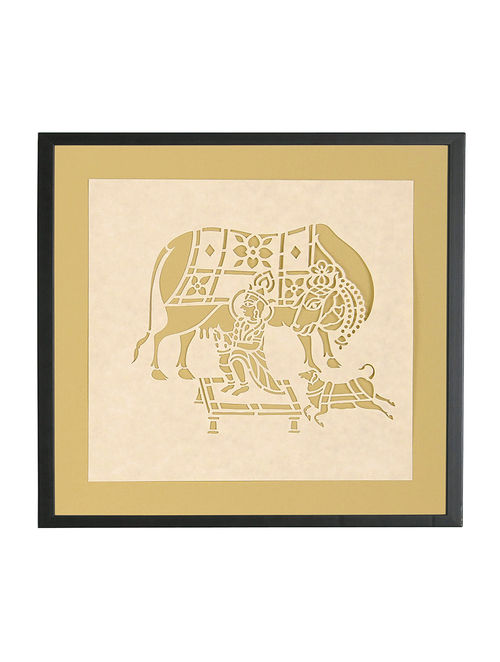 Buy Krishna with Cow Sanjhi Wall Art 10in x 10.5in Online at Jaypore.com