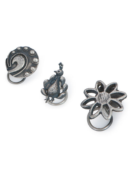 Buy Floral Peacock Ethno Silver Nose Pins Set Of 3