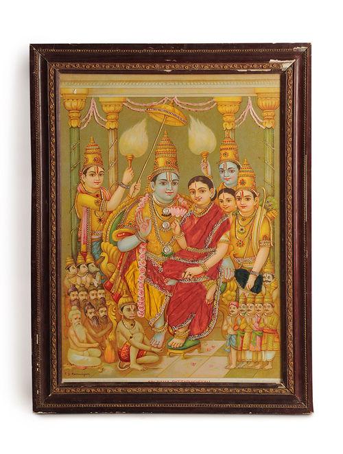 Buy 1920s Framed Zari Oleograph Sri Rama Pattabhishekam
