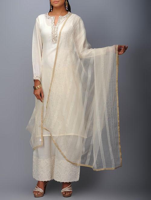 Buy Cream Mukaish Embellished Silk Organza Dupatta Online