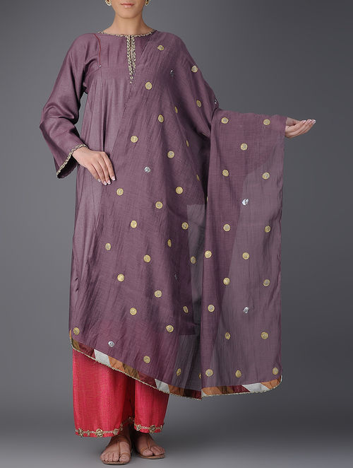 Buy Mauve Chanderi Dupatta Online At Jaypore Com