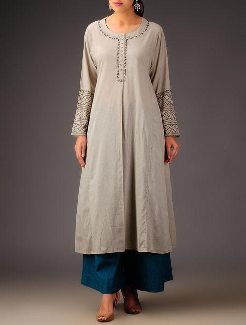 Buy Mink Embroidered Kalidar Kurta Online At Jaypore Com
