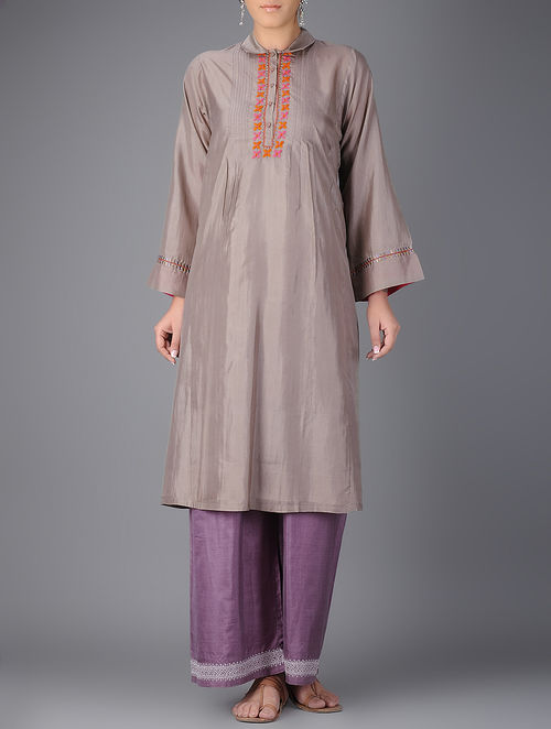 Buy Grey Pintuck Silk Kurta Online At Jaypore Com