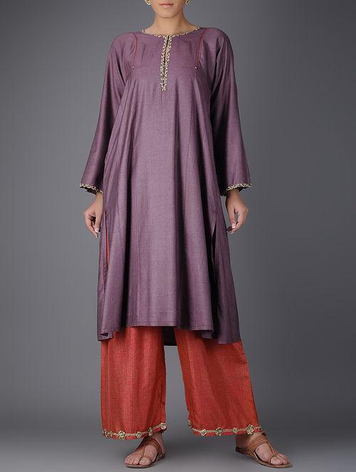 Buy Mauve Embroidered Tussar And Muga Silk Kurta With