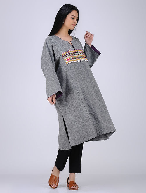 Buy Grey Embroidered Patch Work Woolen Kurta With Pocket