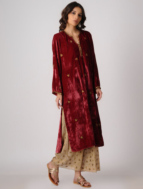 Buy Maroon Silk Velvet Kurta With Embroidery Online At