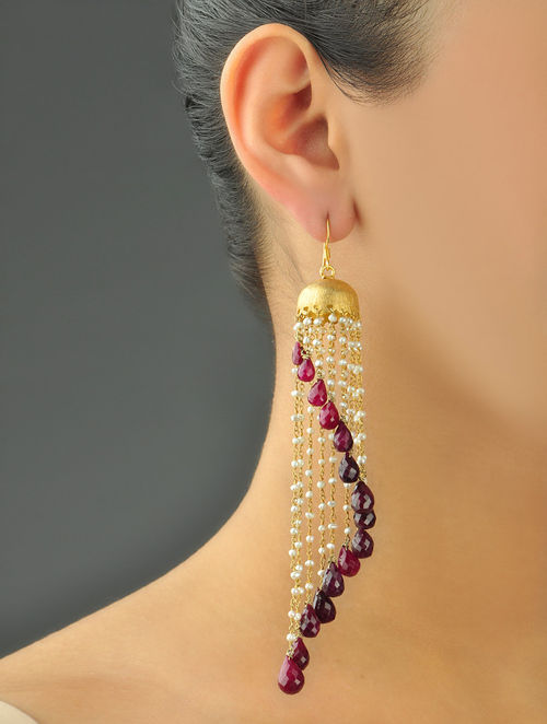 Buy Chandelier Assymetry Ruby Earrings Online At Jaypore Com