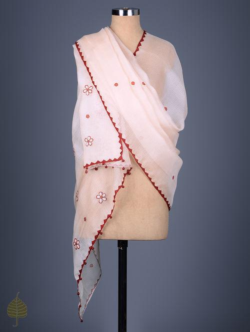 Buy Light Pink Kota Doria Silk Applique Tanka Embroidered