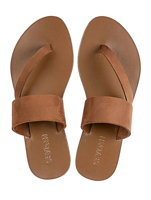 8a590298df5c Buy Brown Side Strap Leather Flats Online at Jaypore.com