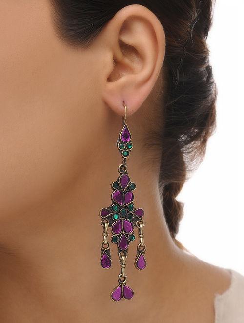 Green-Purple Glass Tribal Earrings