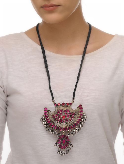 Pink Glass Tribal Necklace