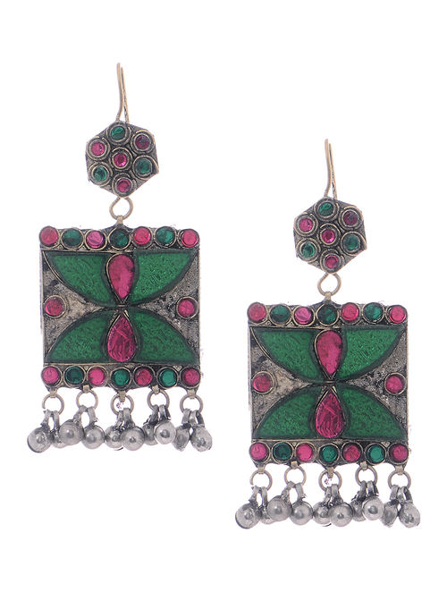 Pink-Green Glass Tribal Earrings