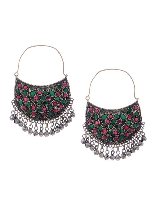 Green-Pink Glass Tribal Earrings