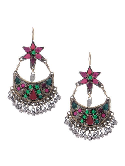 Pink-Green Glass Tribal Earrings