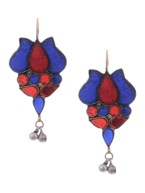 Blue-Red Glass Tribal Earrings