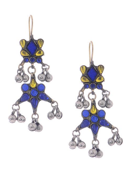 Blue-Yellow Glass Tribal Earrings