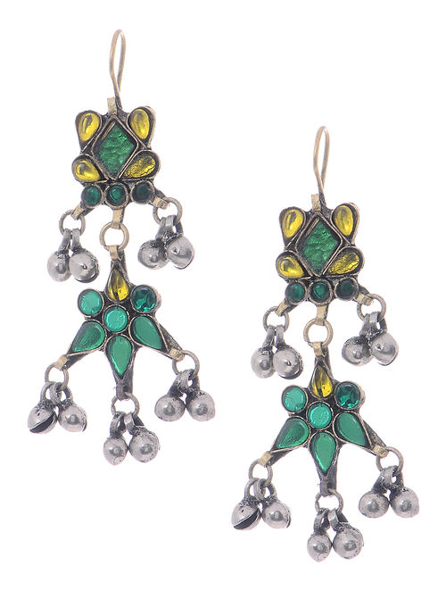 Yellow-Green Glass Tribal Earrings