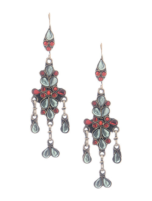 Red-White Glass Tribal Earrings