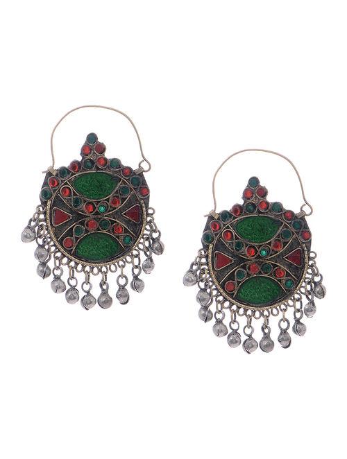Green-Red Glass Tribal Earrings