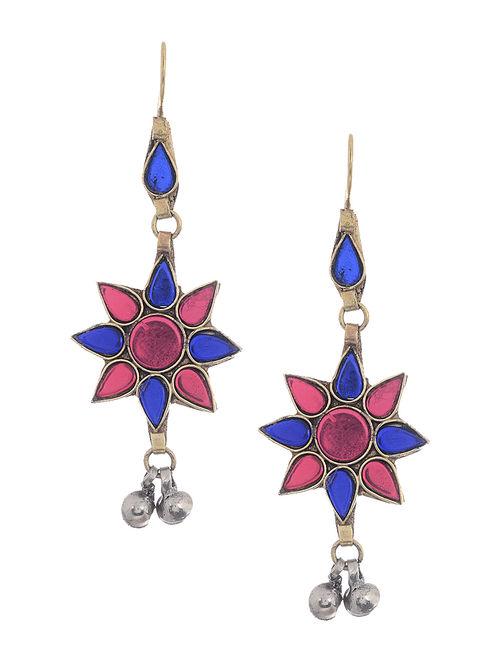 Pink-Blue Glass Tribal Earrings