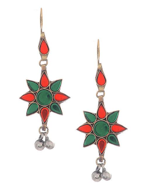 Red-Green Glass Tribal Earrings