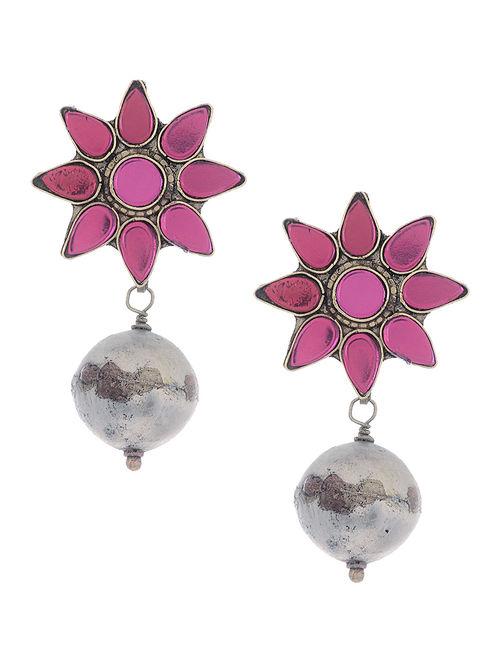 Pink Glass Tribal Earrings