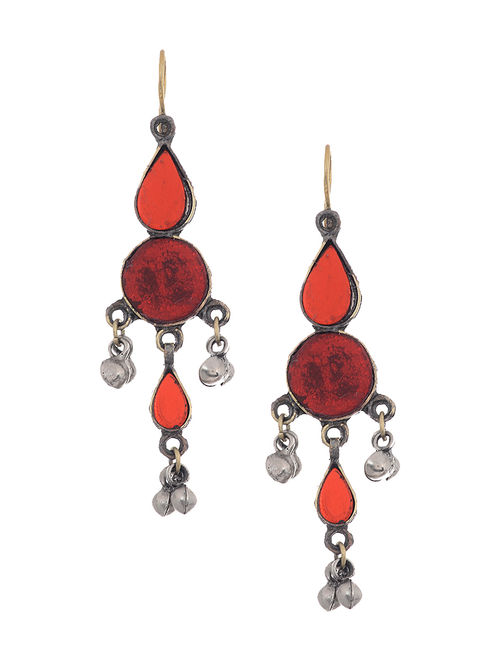 Red Glass Tribal Earrings