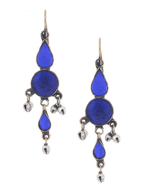 Blue Glass Tribal Earrings