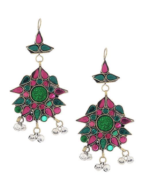 Green-Pink Glass Tribal Earrings